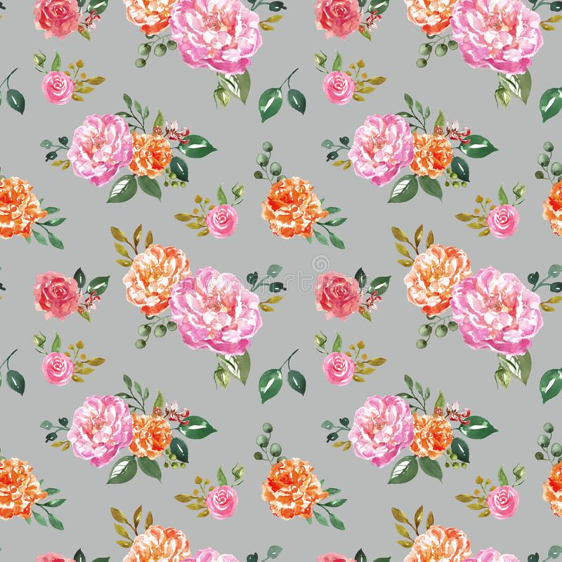 Trendy watercolour floral seamless pattern. Hand painted pink and orange flowers on pale grey background. Botanical print. royalty free illustration