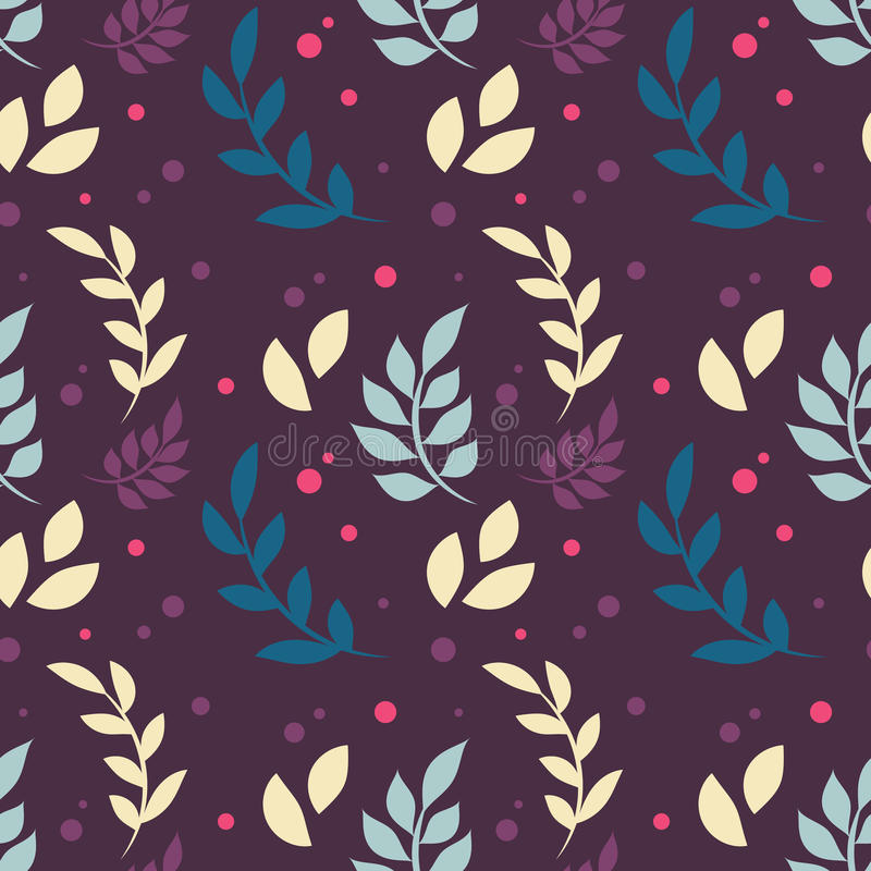 Elegant floral seamless pattern with plants, leaves, dots royalty free illustration