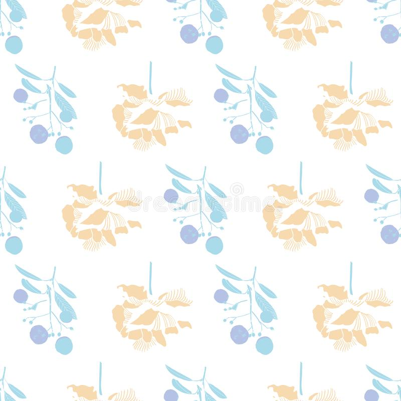 Elegant floral spring peony pattern. Pastel elegant floral peony blossom pattern with plant in blue pastel tones. Simple geometric classic style. Great for home vector illustration