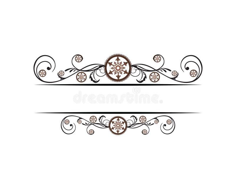 Elegant floral steampunk border stock illustration