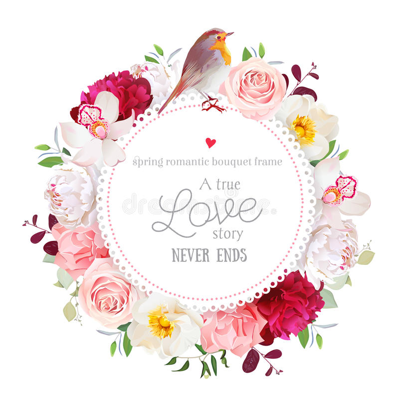Elegant floral vector round card with white and burgundy red peony, rose, orchid, carnation flowers, mixed leaves. And plants and cute small robin bird. All royalty free illustration