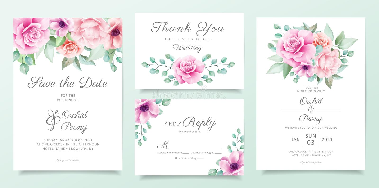 Elegant floral wedding invitation card template set with purple and pink flowers, leaves decoration. Botanical card background. Bundle vector royalty free illustration