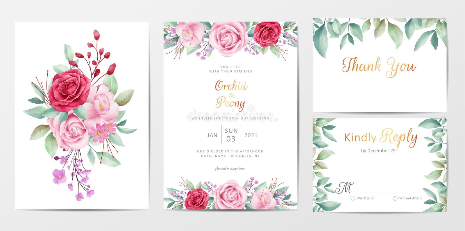 Elegant floral wedding invitation cards template set with flowers bouquet. Save the date, invitation, greeting, thank you, RSVP cards vector editable template stock illustration
