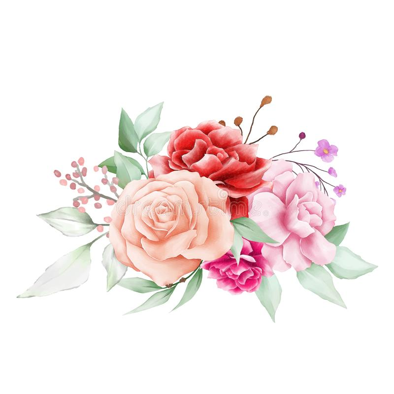 Elegant flowers arrangements composition for wedding or greeting cards element. Fully editable vector for wedding or greeting cards composition royalty free illustration