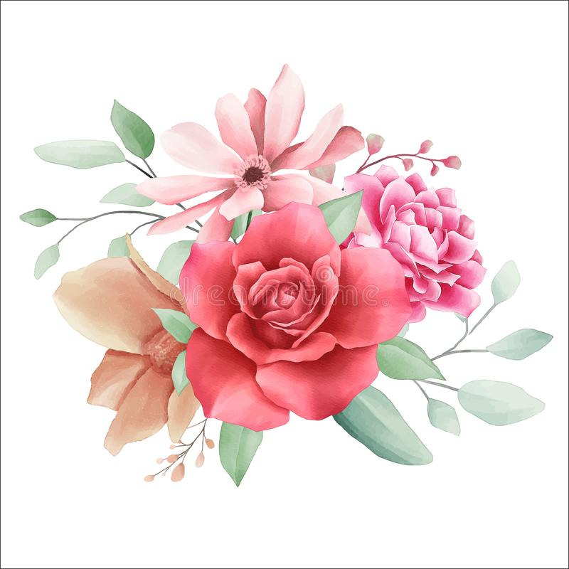 Elegant flowers bouquet for wedding or cards elements. Fully editable vector for wedding or greeting cards composition stock illustration