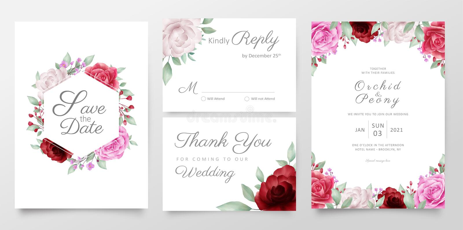 Elegant flowers wedding invitation cards template set. Editable vector save the date, thank you, rsvp, invitation card vector illustration