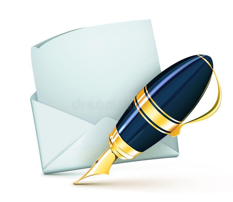 Elegant fountain pen. Vector illustration of elegant fountain pen with white blank open envelope vector illustration