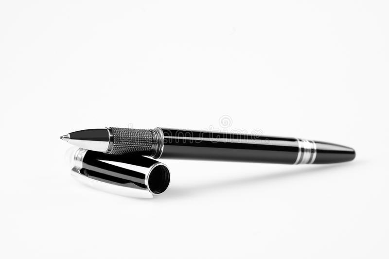 Elegant fountain pen. On white royalty free stock image