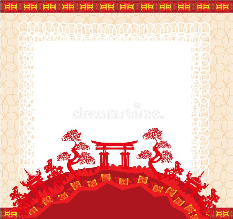 Elegant frame with Chinese temple. Vector Illustration stock illustration