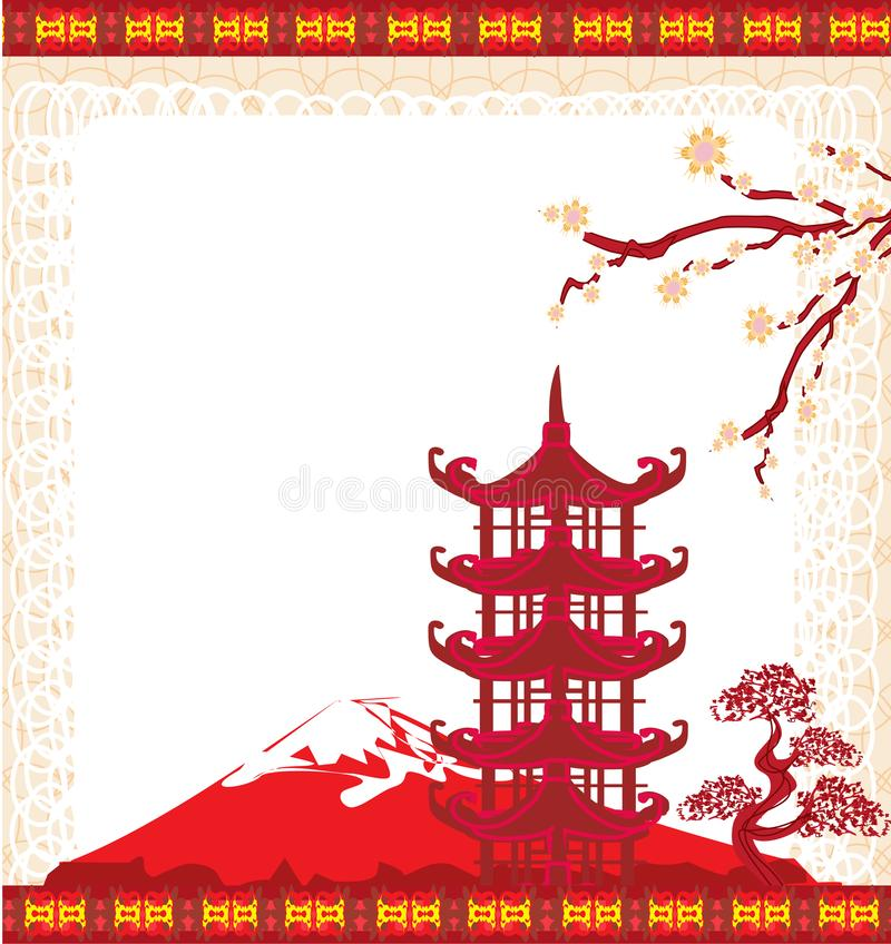 Elegant frame with Chinese temple. Vector Illustration royalty free illustration