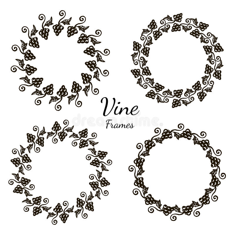 Elegant frame of grape design element. Decorative frame with floral ornament. Vector illustration for vine or juice package design stock illustration