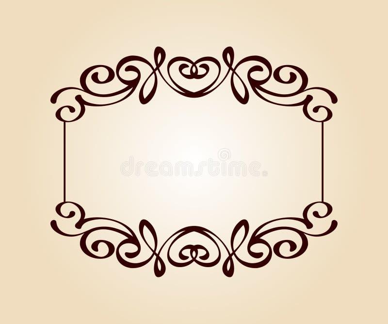 Elegant frame.Vector illustration.Brown beige. stock illustration