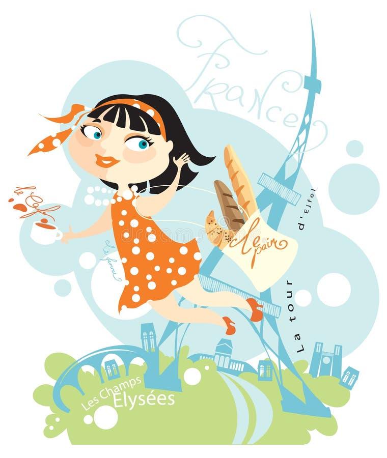 elegant fransk flicka royaltyfri illustrationer