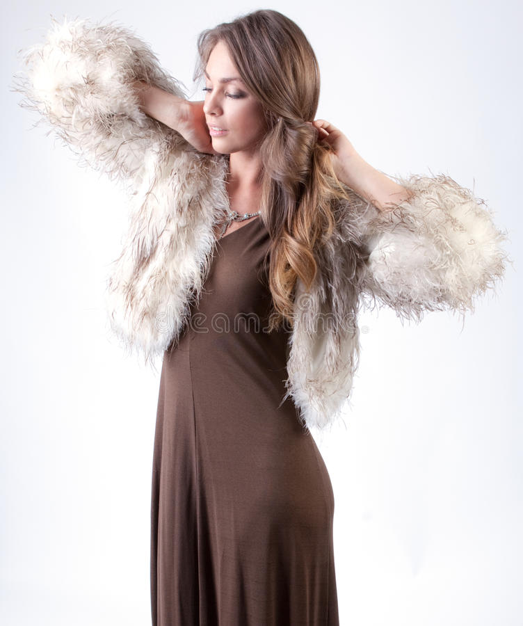 Download Elegant in Fur stock image. Image of dress, person, girl - 31990809