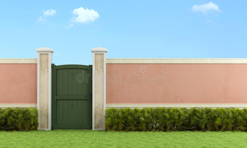 Elegant garden with pedestrian gate vector illustration
