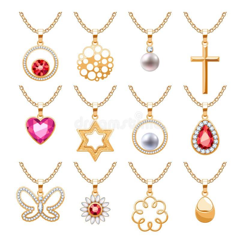 Elegant gemstones vector jewelry pendants set. Elegant rubies gemstones vector jewelry pendants for necklace or bracelet set. Assorted forms - abstract, heart royalty free illustration
