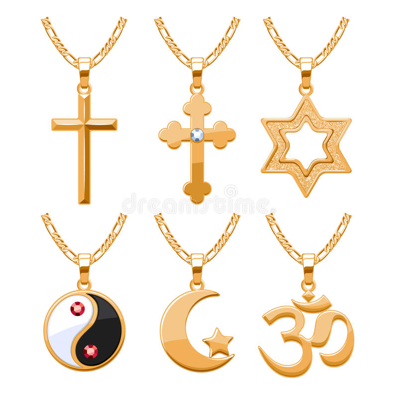 Elegant gemstones vector jewelry religious symbols pendants set vector illustration
