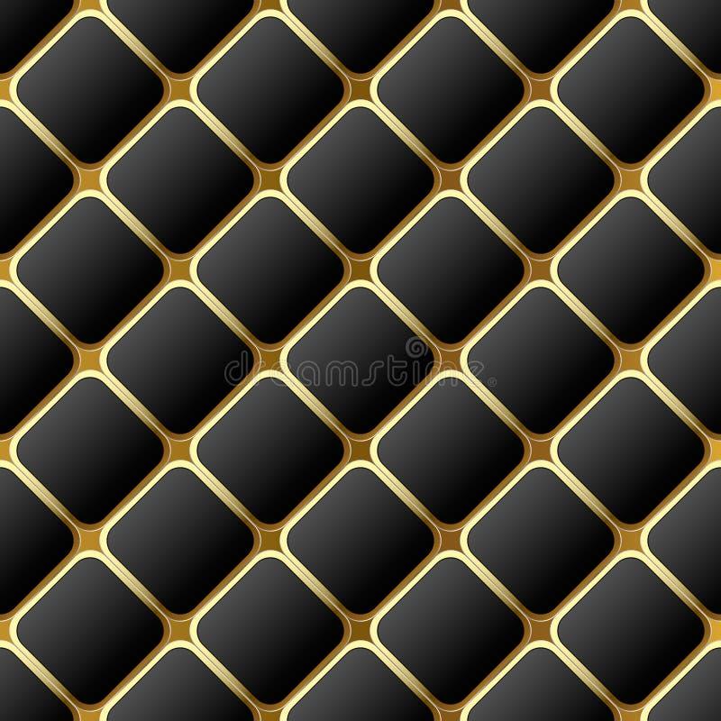 Elegant geometrisch zwart-wit 3d wafel naadloos patroon De sierachtergrond van de oppervlakteruit Modern herhaal samenvatting stock illustratie