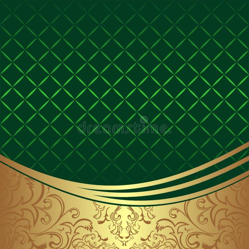 Elegant geometrisk grön bakgrund med den guld- dekorativa gränsen royaltyfri illustrationer