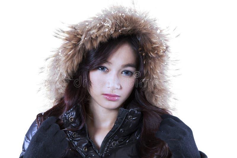 Elegant gezicht van meisje in de winterjasje royalty-vrije stock afbeeldingen