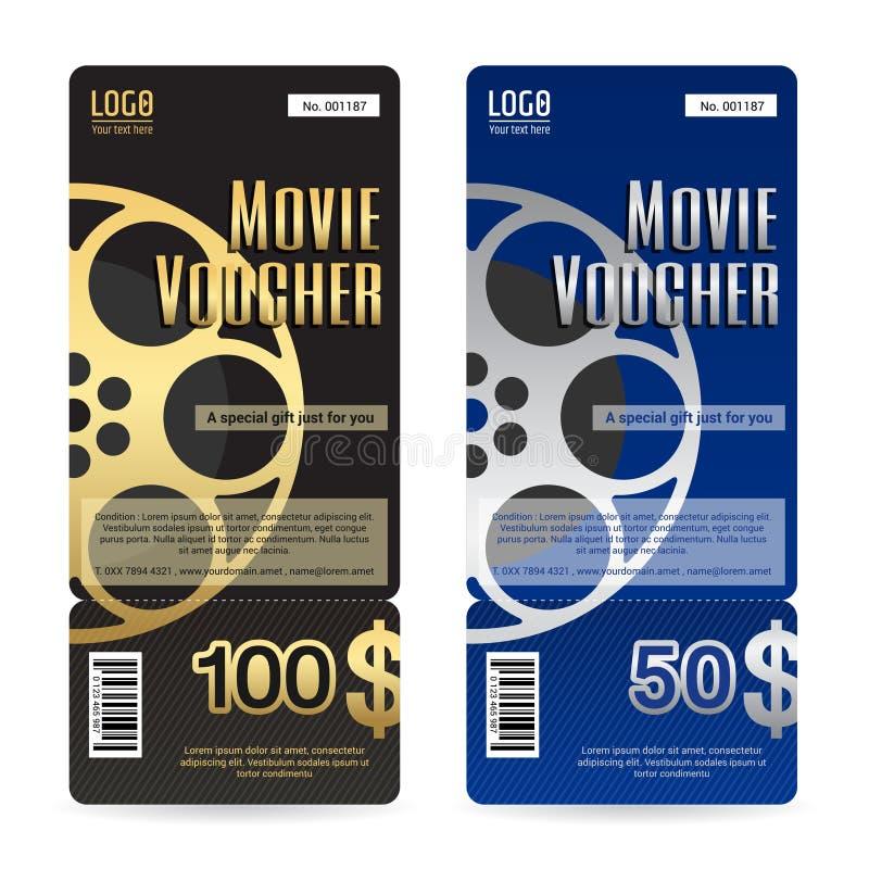 Elegant Gift Voucher Or Gift Card In Movie Film Theme Stock Vector