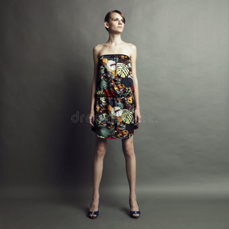 Elegant girl in dress royalty free stock photography