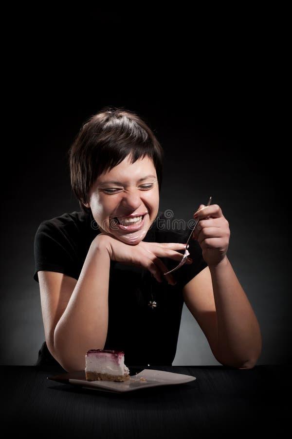 Download Elegant Girl Eating A Chocolate Cake Stock Photo - Image: 26245068