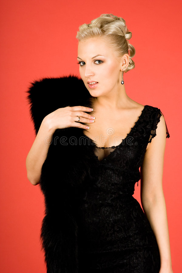 Download Elegant girl with fur stock image. Image of happy, head - 7330371