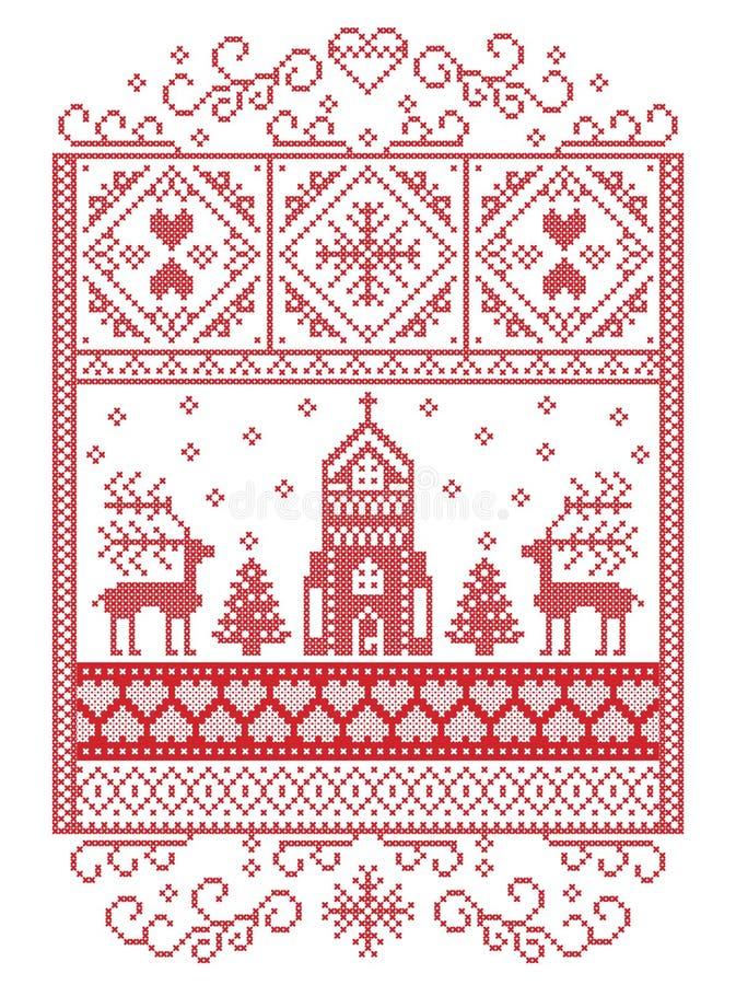 Elegant glad jul skandinav, nordisk stilvintermodell inklusive snöflingan, hjärta, ren, julträd, snöflingor royaltyfri illustrationer