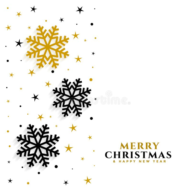 Elegant gold and black snowflakes white background vector illustration