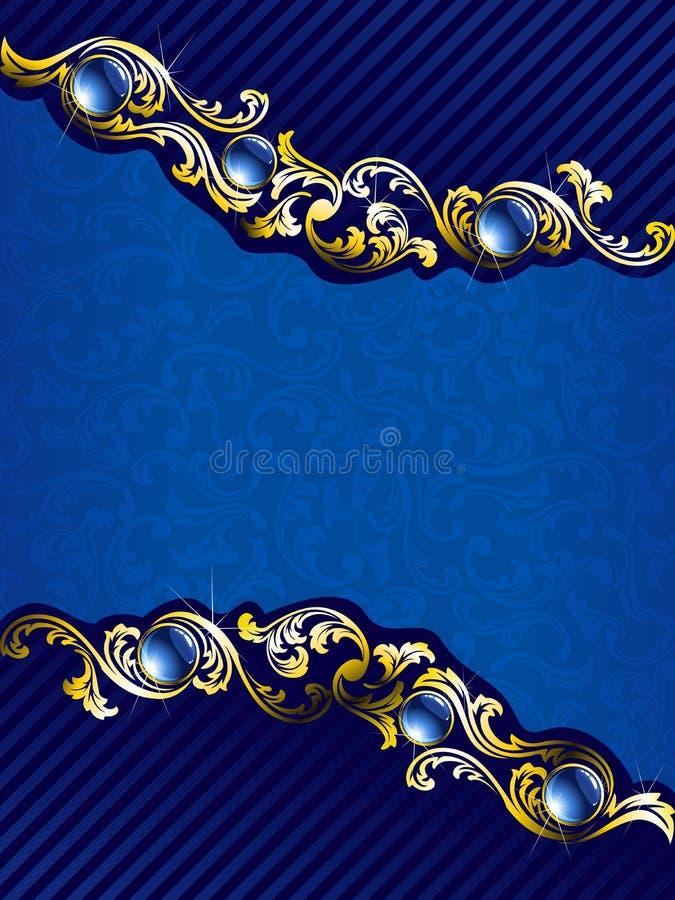 Elegant gold and blue background with gems stock illustration
