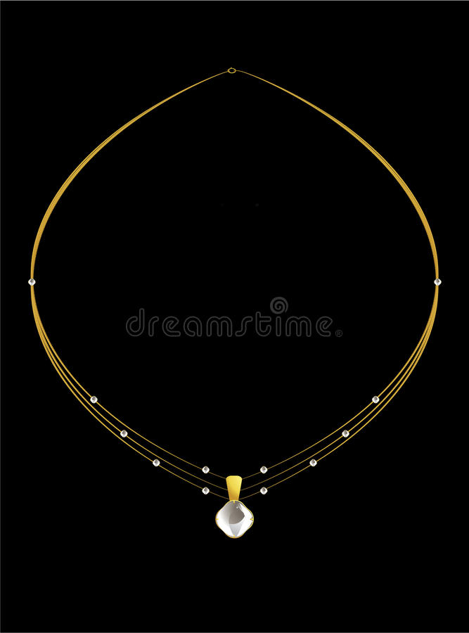Elegant gold diamond necklace stock illustration