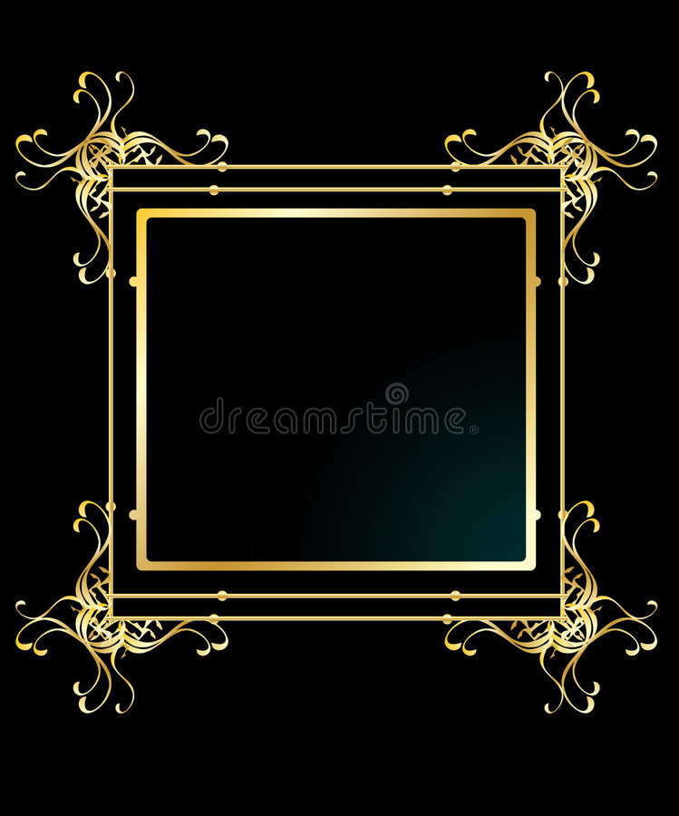 Elegant gold frame background vector illustration