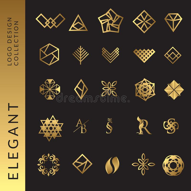 Elegant gold logo template collection vector illustration royalty free illustration