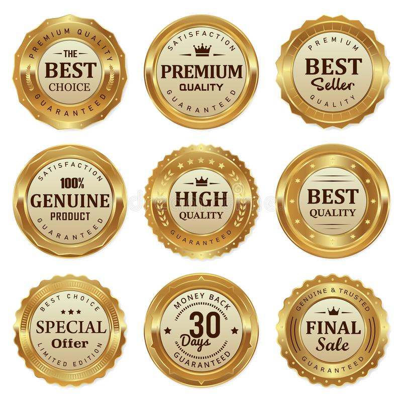 Elegant gold seal labels quality product stock photo