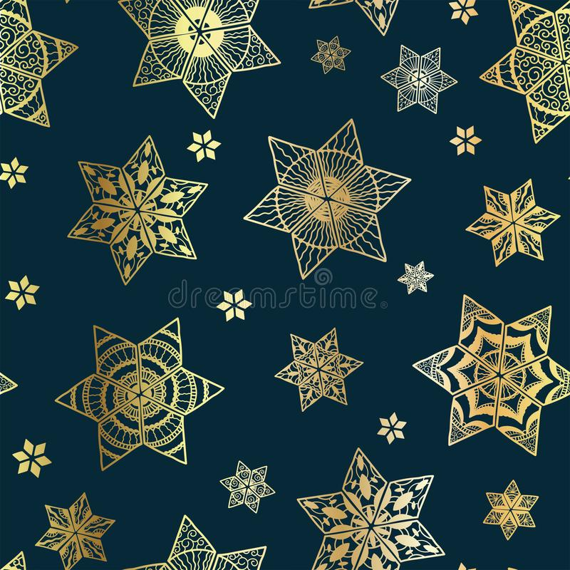 Elegant gold snowflakes seamless pattern, hand drawn and detailed, great for wrapping, textiles, banners, wallpapers - vector. Surface design royalty free illustration