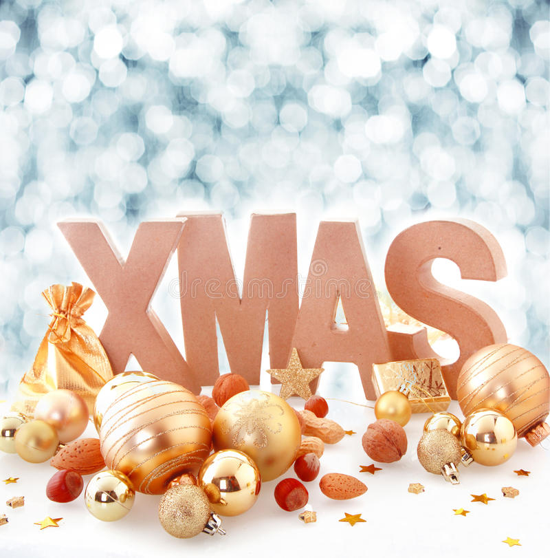Elegant gold Xmas still life royalty free stock photo