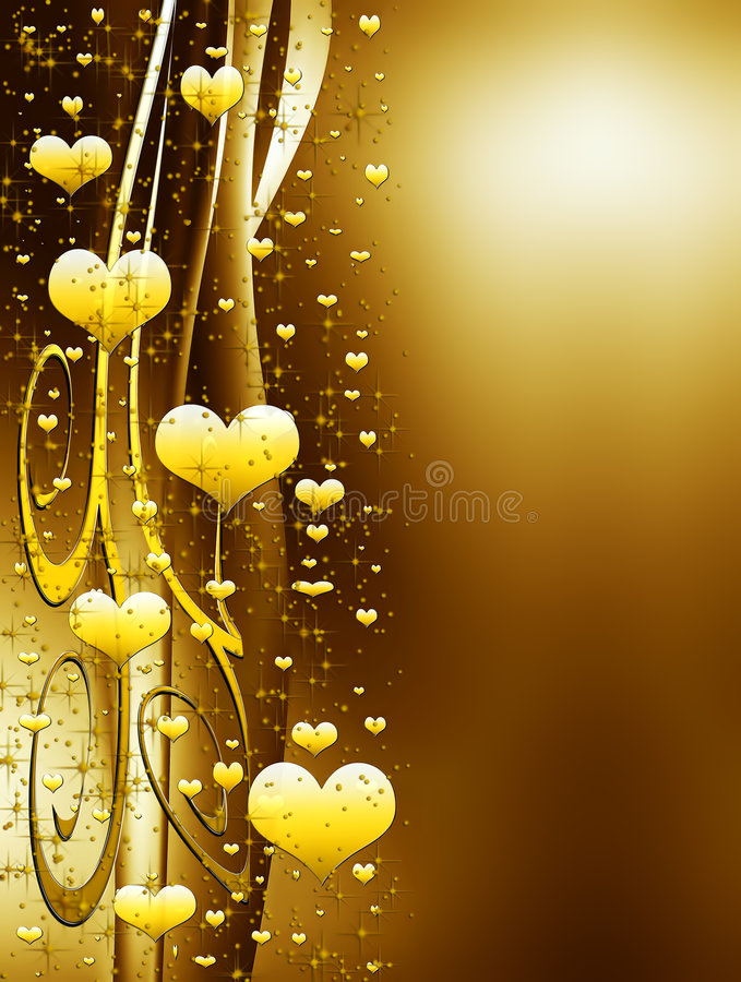 Elegant golden background with hearts and stars. Elegant valentines background with golden hearts and stars stock illustration