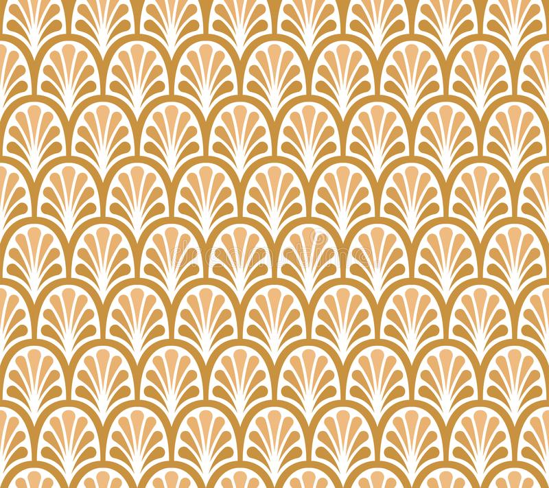 Elegant Golden Floral Vector Seamless Pattern. Decorative Flower Illustration. Abstract Art Deco Background. Classic Leaves Art Deco Seamless Pattern. Geometric stock illustration
