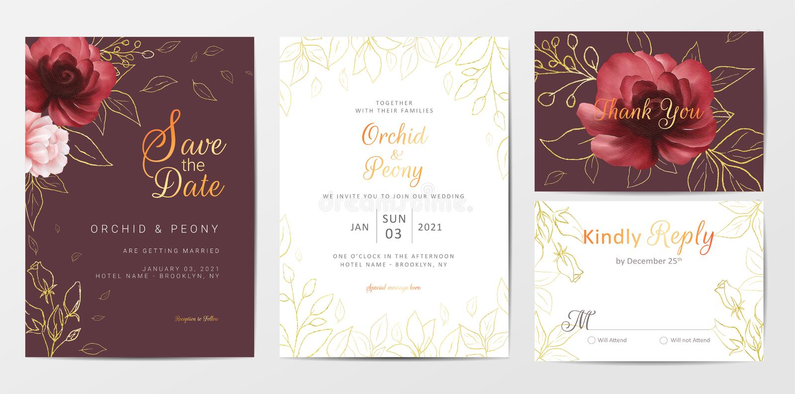 Elegant golden flowers wedding invitation cards template set. Fully editable vector template, save the date, invitation, greeting, thank you, and rsvp cards stock illustration