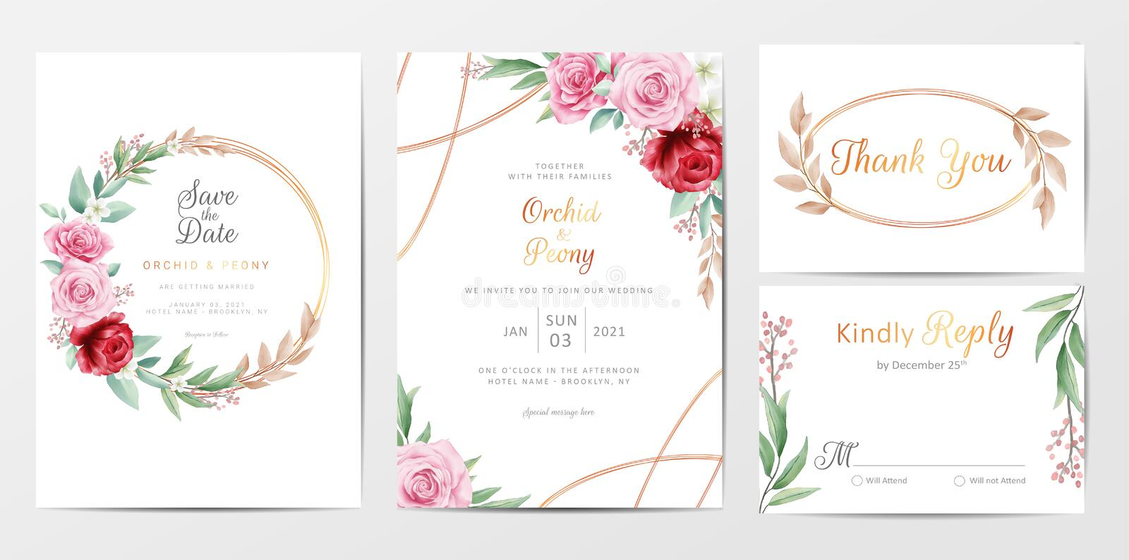 Elegant golden flowers wedding invitation cards template set. Save the date, invitation, greeting, thank you, RSVP cards vector editable template vector illustration