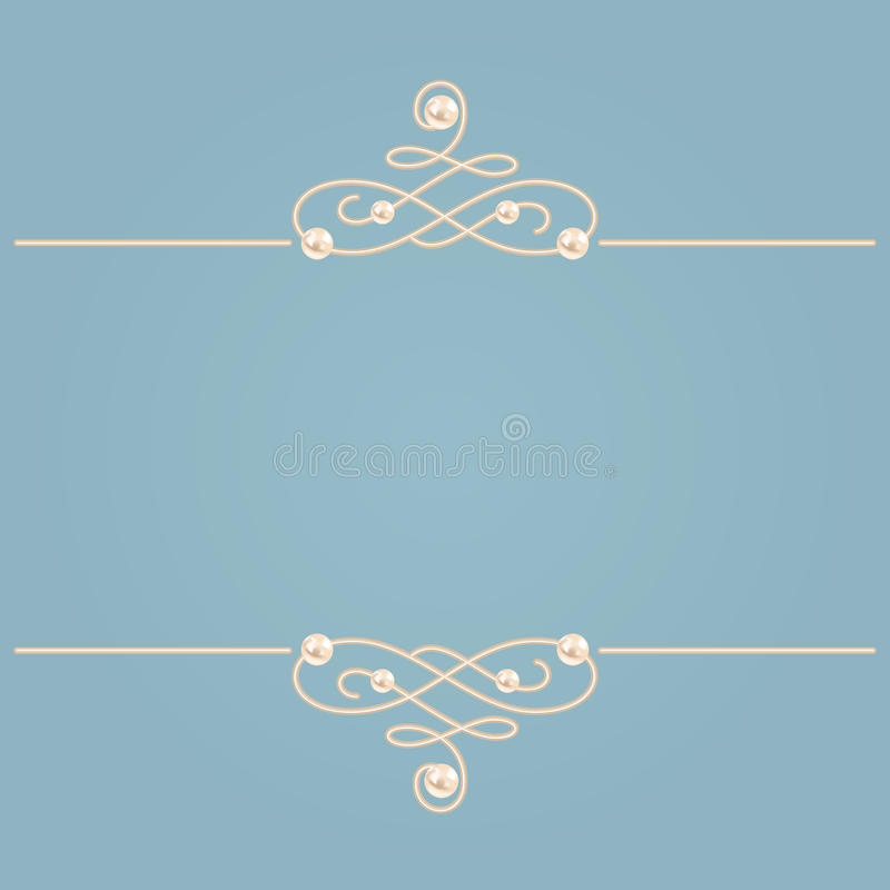 Free Elegant Golden Knot Sign. Blue And Beige Pastel Illustration, Calligraphic Flourish Dividers With Pearls. Vector Royalty Free Stock Images - 95068059