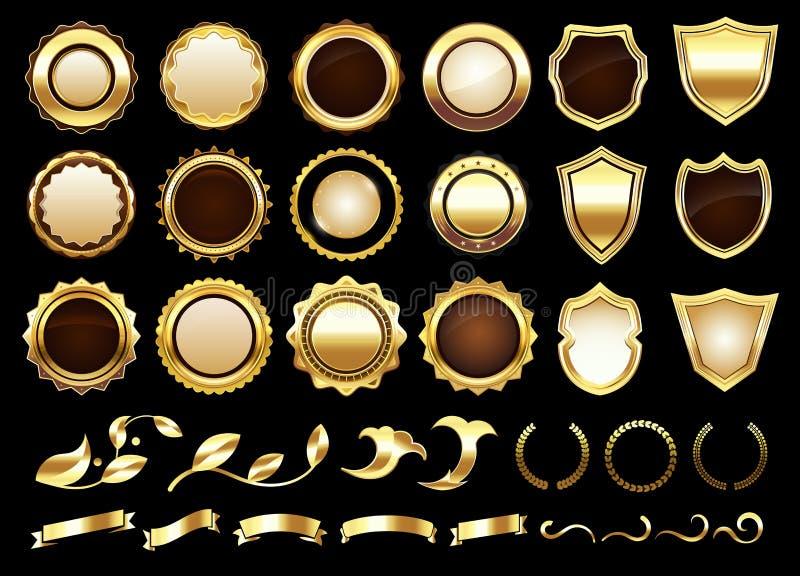 Elegant golden labels. Shields badges, gold ornamental scrolls amd retro label vector illustration set. Elegant golden labels. Shields badges, gold ornamental royalty free illustration