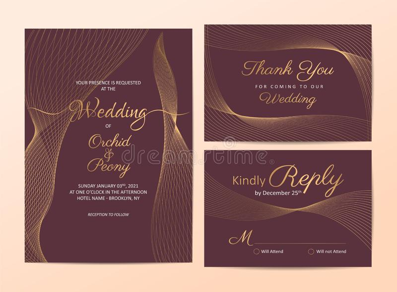 Elegant golden line wedding invitation cards template set. Modern line-art background for greeting card, poster, multi-purpose royalty free illustration