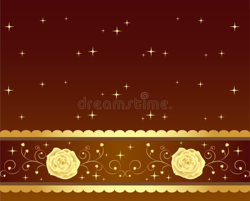 Elegant golden shining roses royalty free illustration