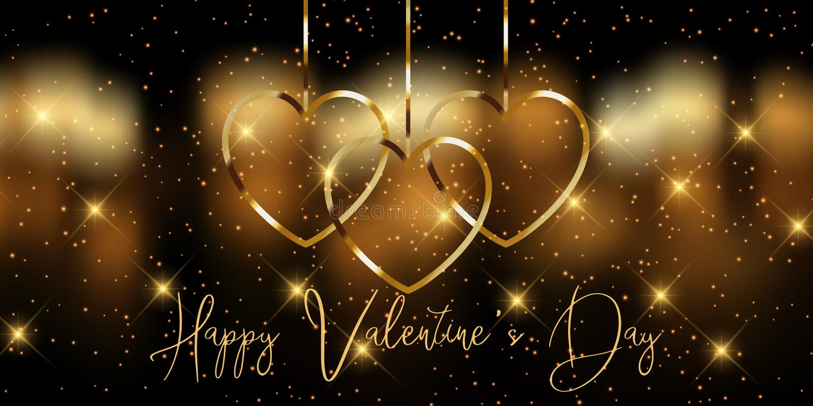 Elegant golden Valentines Day banner royalty free stock images