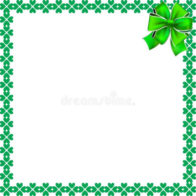 Elegant gräns för helgonPatricks dag med treklöverer och den festliga pilbågen vektor illustrationer