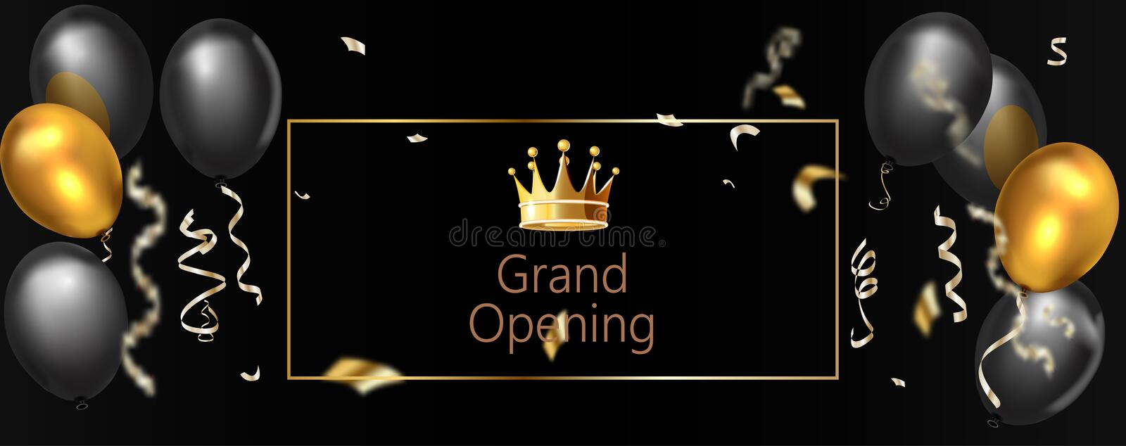 Elegant grand opening banners with black air balloons vector illustration