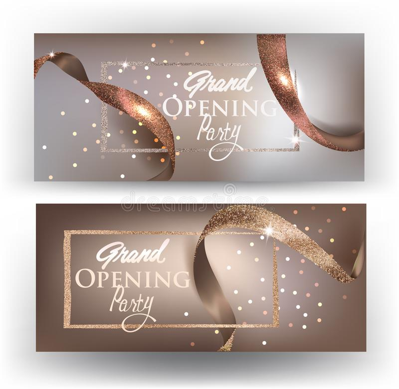 Elegant grand opening beige cards with realictic ribbons. Vector illustration stock illustration