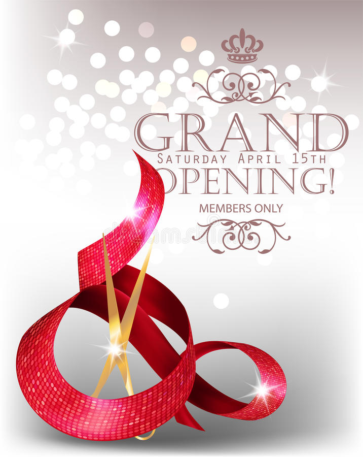 Elegant grand opening card with textured curled red ribbon and scissors. vector illustration